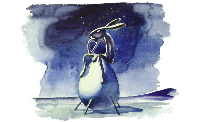 Hase, Illustration, Aquarell